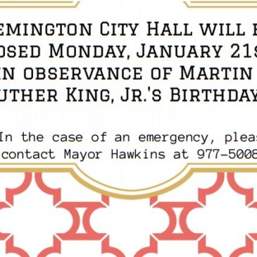 City Hall Closed 1/21/19