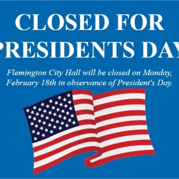 City Hall Closed 2/18/19 – Presidents Day