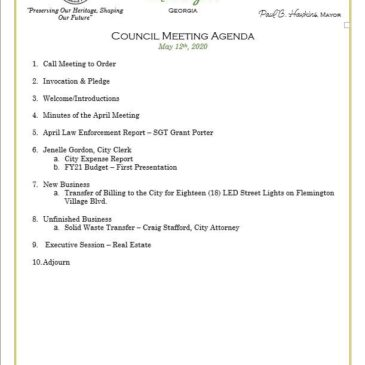 May City Council Meeting — attend in person or via Zoom