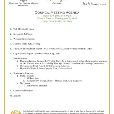 August City Council Meeting – In Person or via Zoom